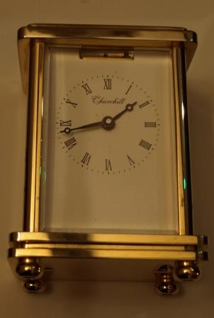 Front view of 'Churchill' carriage clock