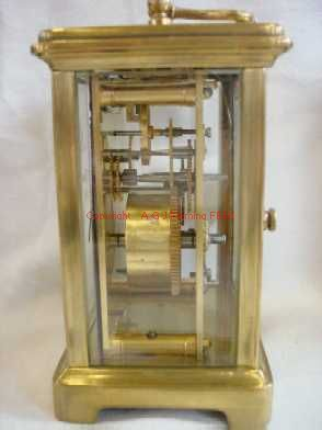 Right side view of carriage clock with cylinder platform